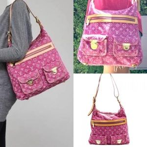 ❇️RARE❇️Fuchsia Denim Monogram Denim Baggy GM Bag